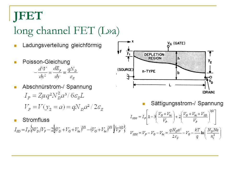 JFET long channel FET (L»a)