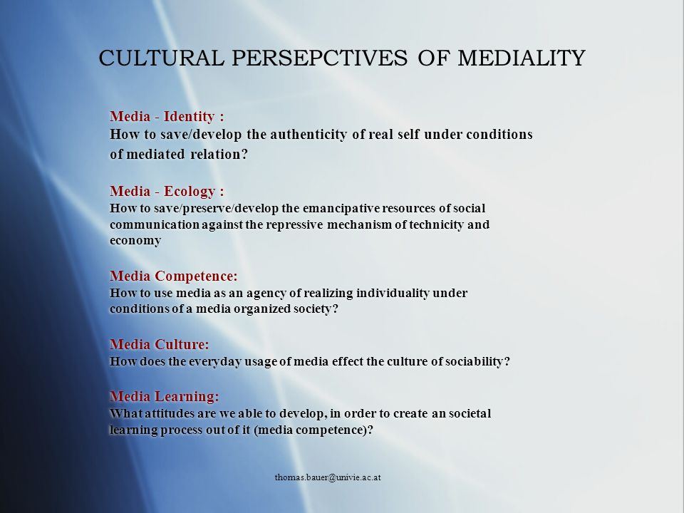 CULTURAL PERSEPCTIVES OF MEDIALITY