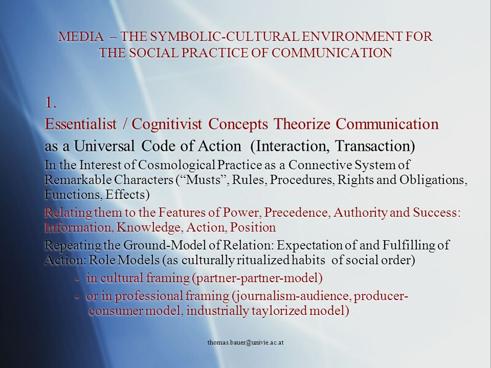 Essentialist / Cognitivist Concepts Theorize Communication