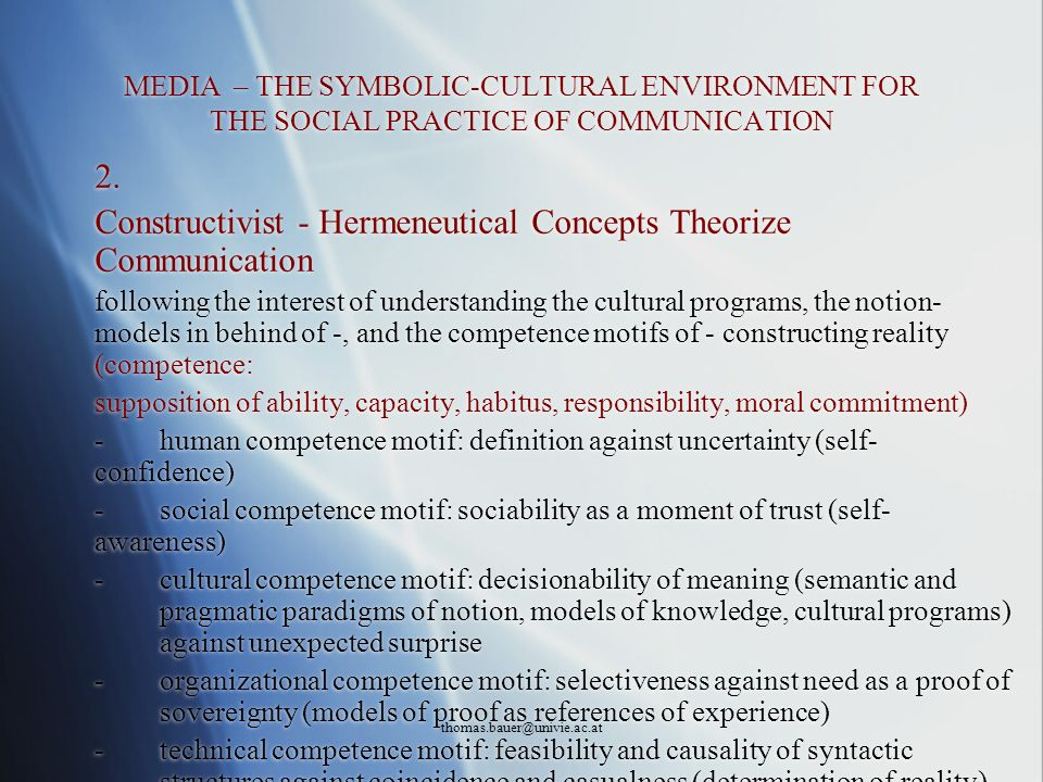Constructivist - Hermeneutical Concepts Theorize Communication