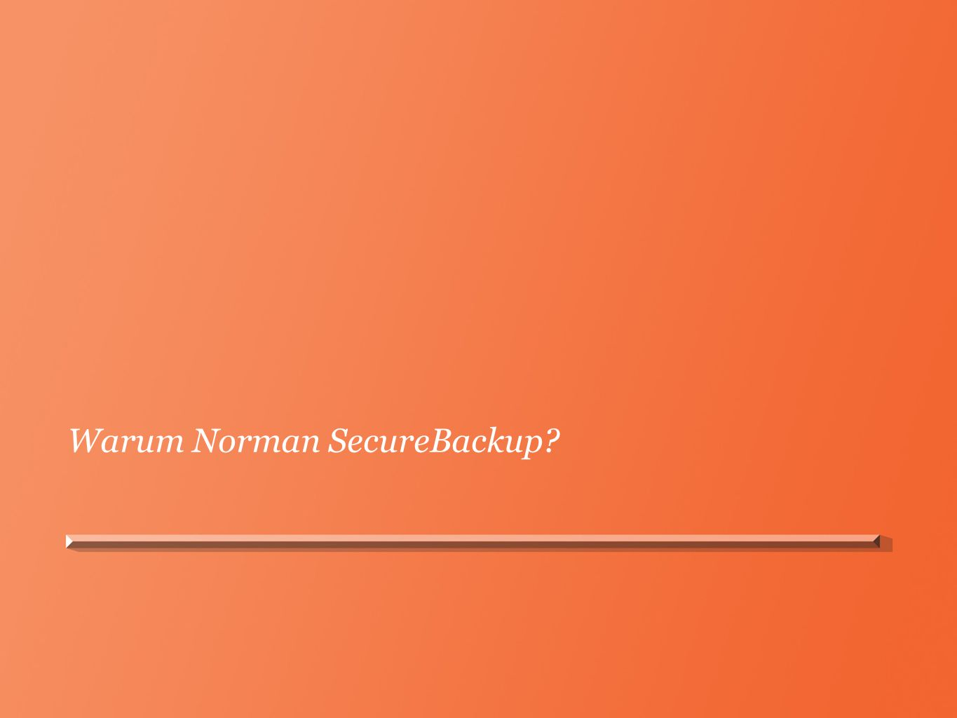 Warum Norman SecureBackup