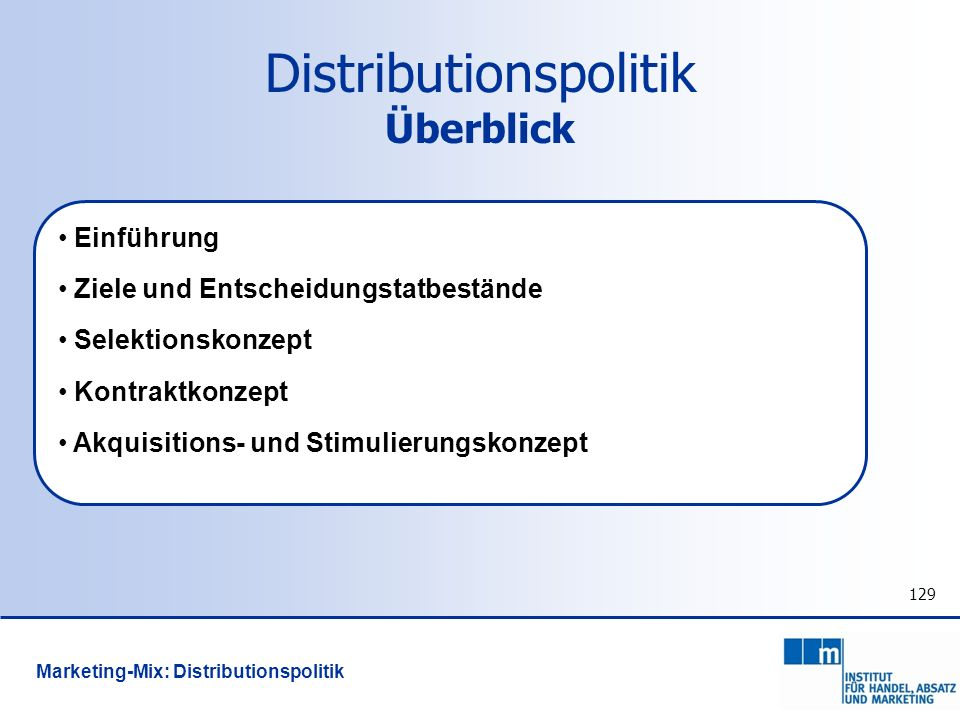 Distributionspolitik Überblick