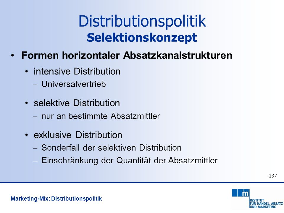Distributionspolitik Selektionskonzept
