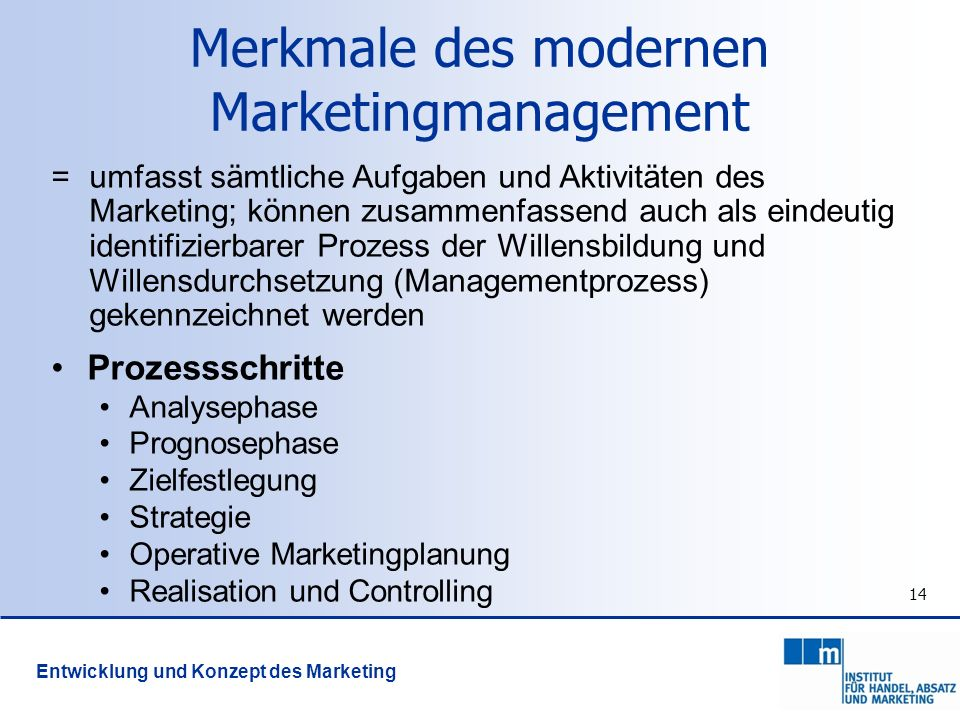 Merkmale des modernen Marketingmanagement