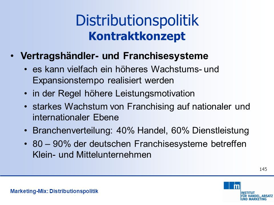 Distributionspolitik Kontraktkonzept