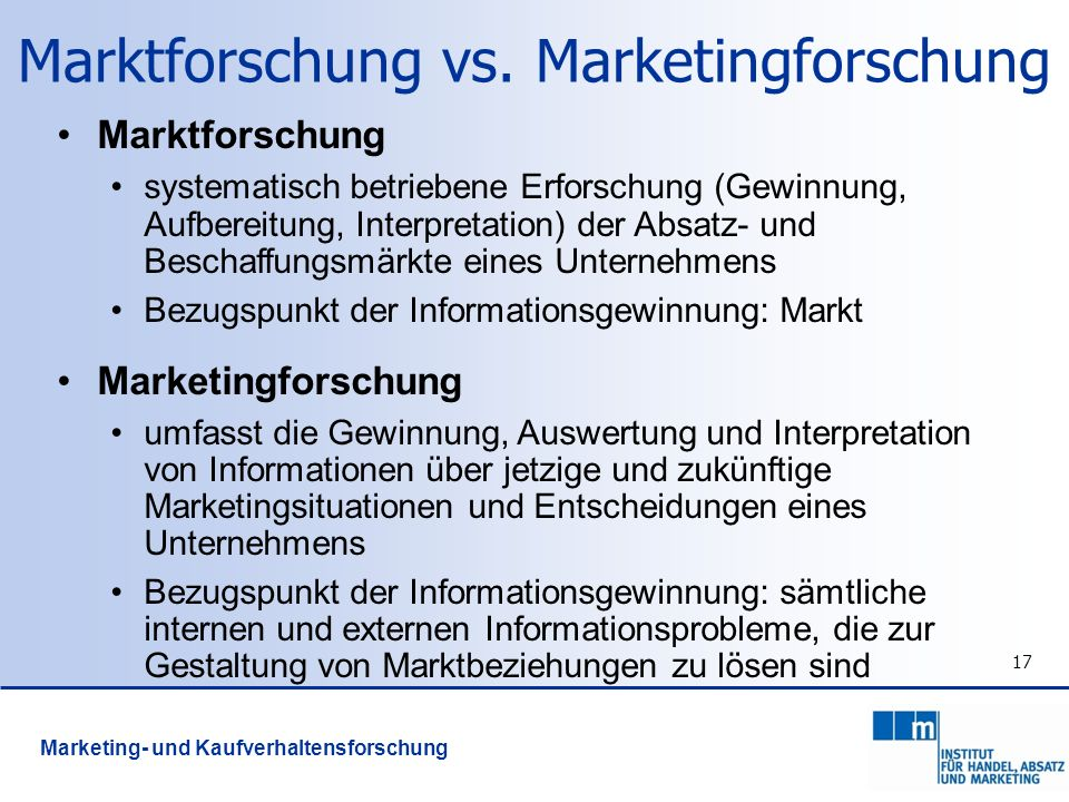 Marktforschung vs. Marketingforschung