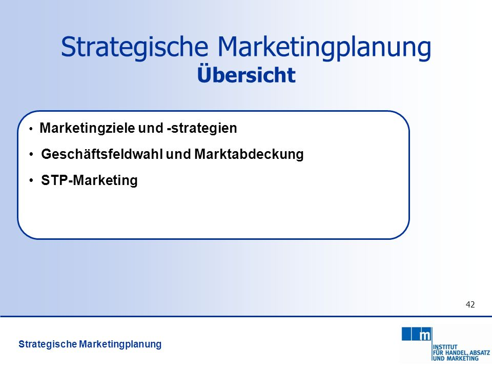 Strategische Marketingplanung Übersicht