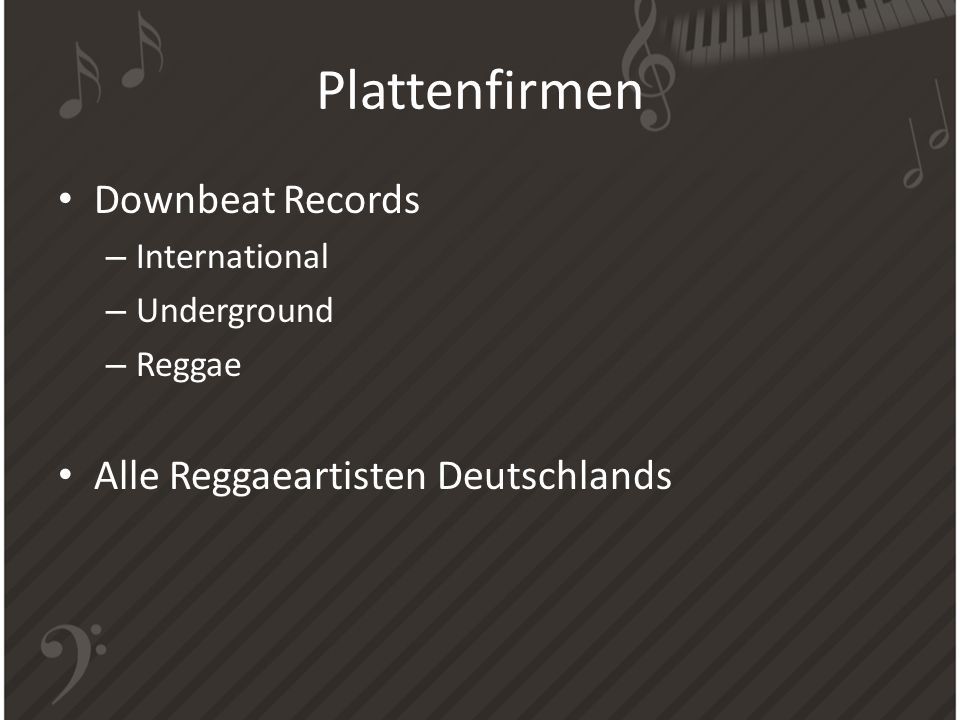 Plattenfirmen Downbeat Records Alle Reggaeartisten Deutschlands