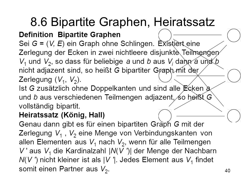 8.6 Bipartite Graphen, Heiratssatz