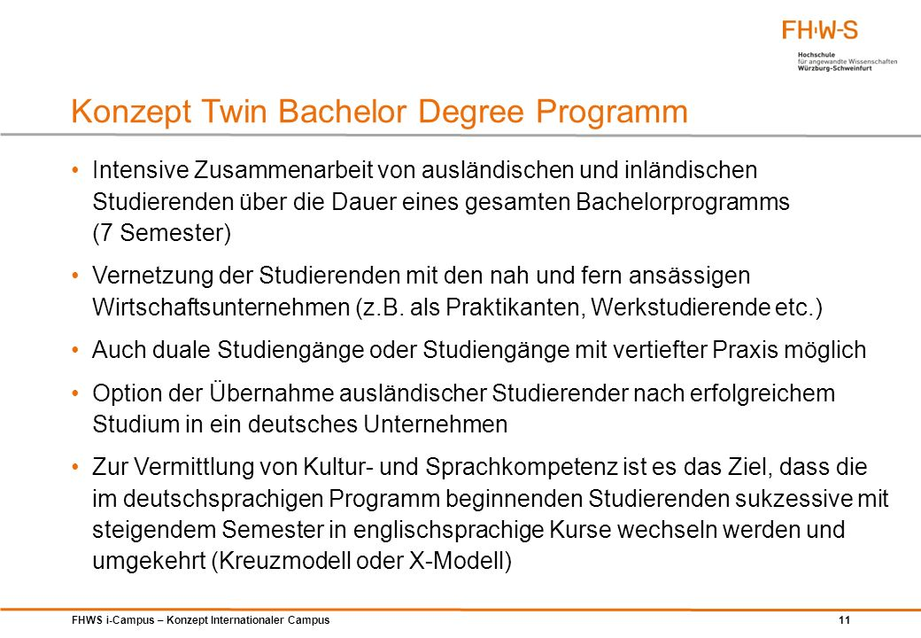 Konzept Twin Bachelor Degree Programm