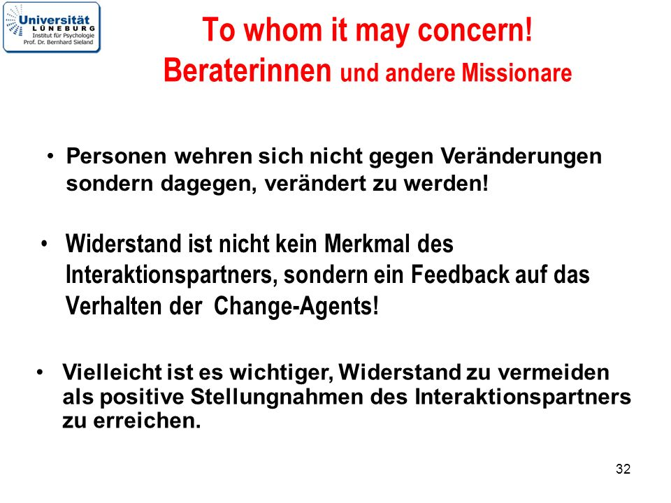 To whom it may concern! Beraterinnen und andere Missionare