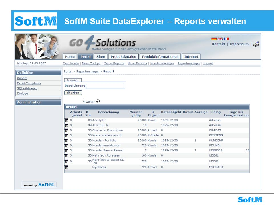 SoftM Suite DataExplorer – Reports verwalten