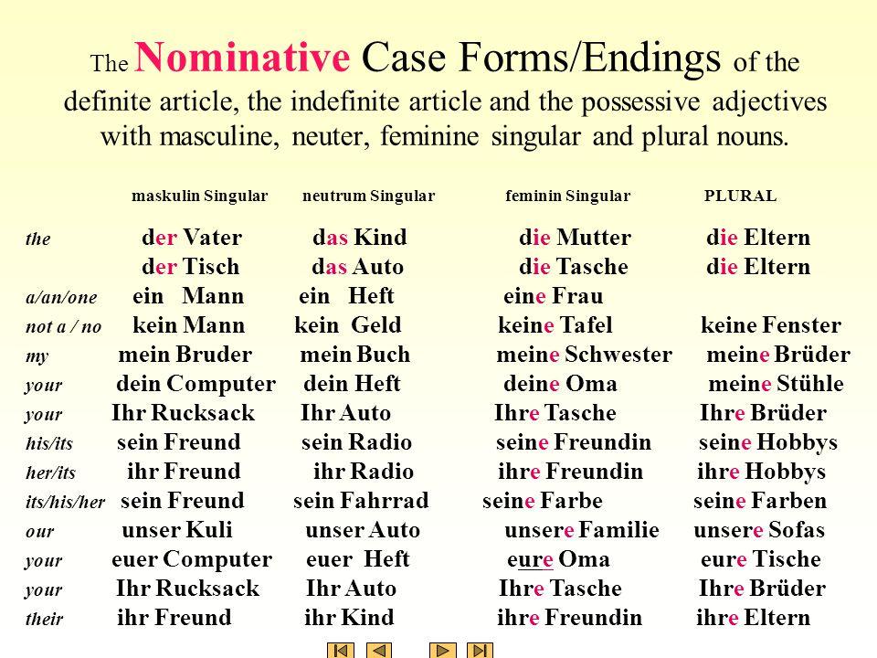 The Nominative Case Formsendings Of The Personal Pronouns Ppt
