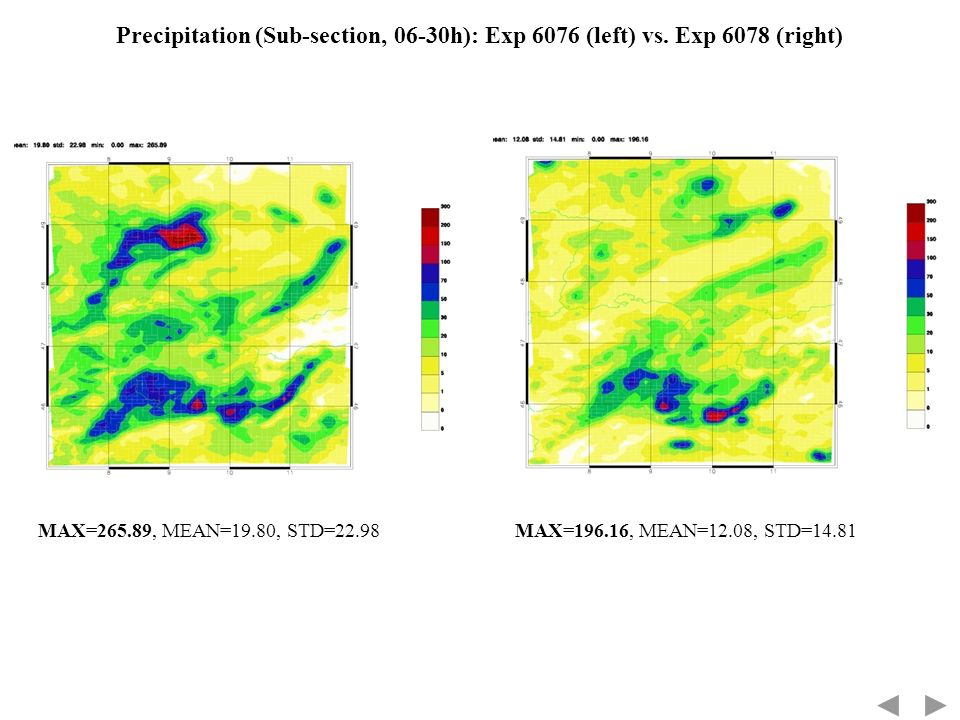 Precipitation (Sub-section, 06-30h): Exp 6076 (left) vs