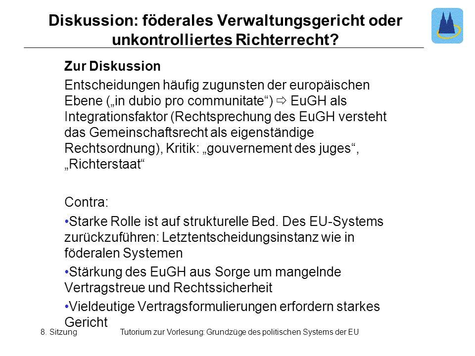 Tutorium Zur Vorlesung Grundzüge Des Politischen Systems Der Eu