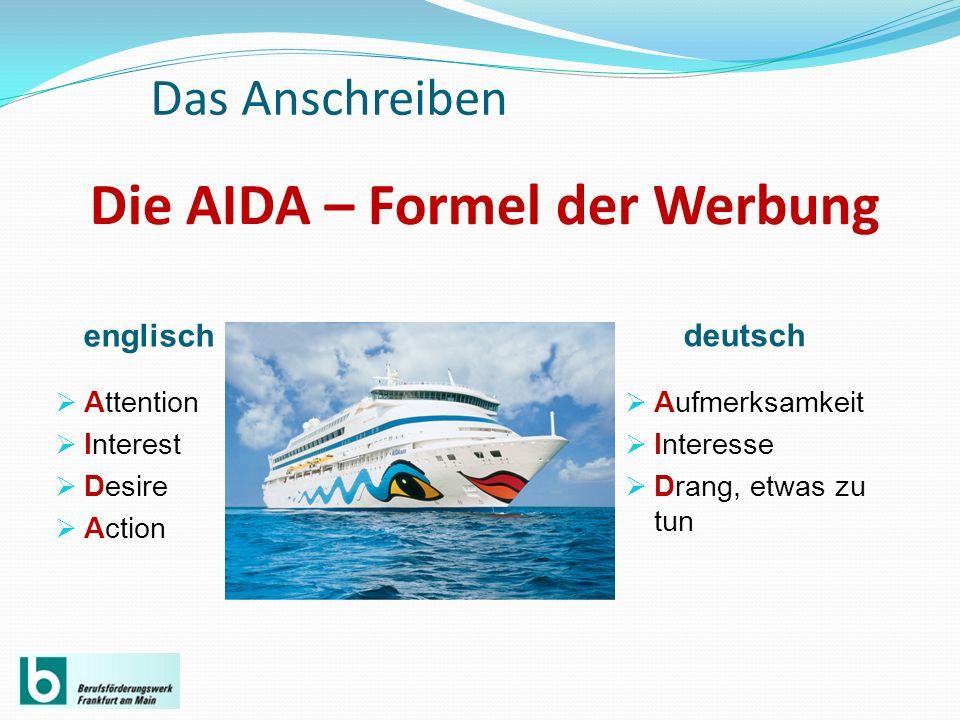 die aida formel der werbung - Aida Bewerbung