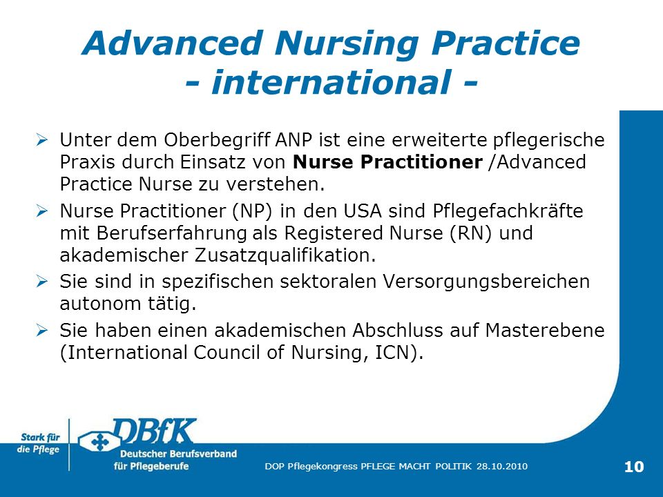 Advanced Nursing Practice - international -