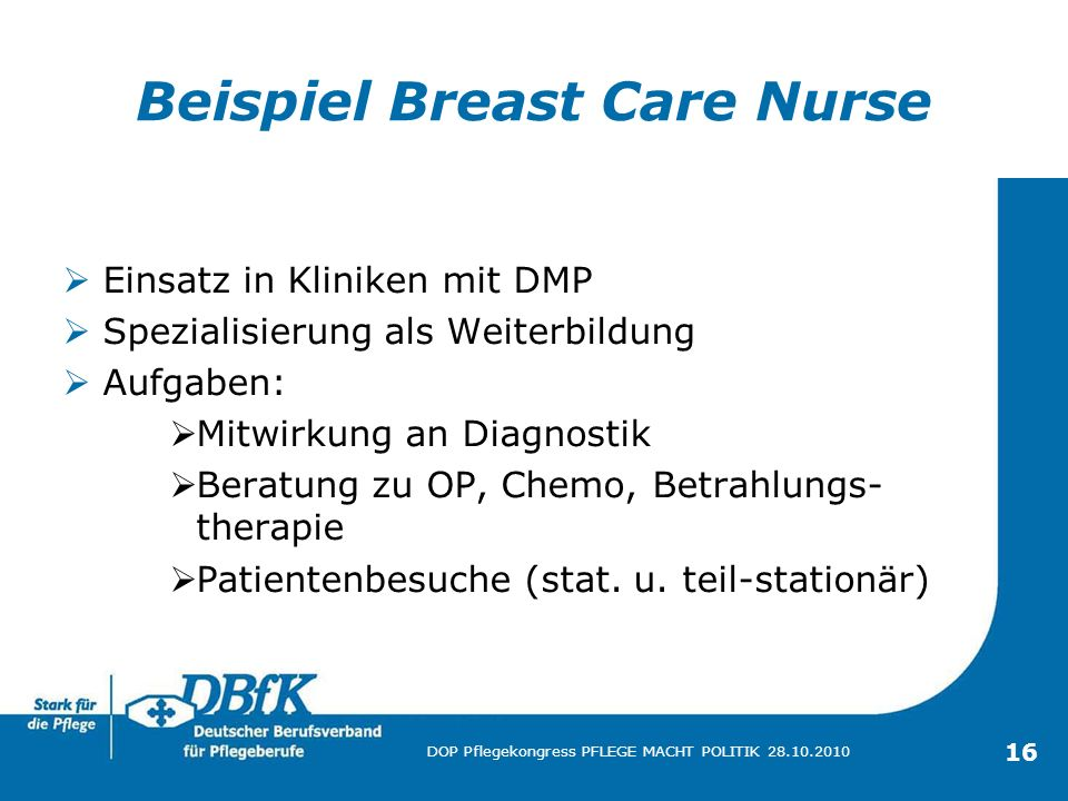 Beispiel Breast Care Nurse