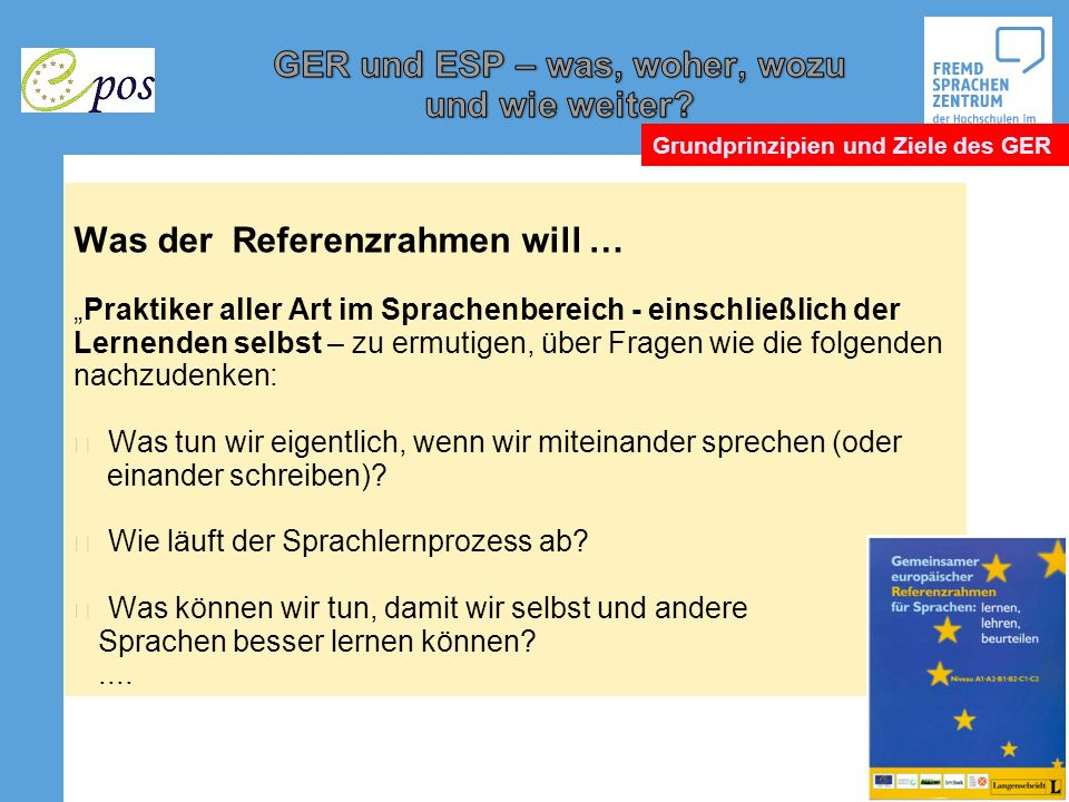 Europäischer Referenzrahmen und Europäisches Sprachenportfolio - ppt ...