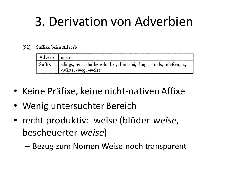 3. Derivation von Adverbien