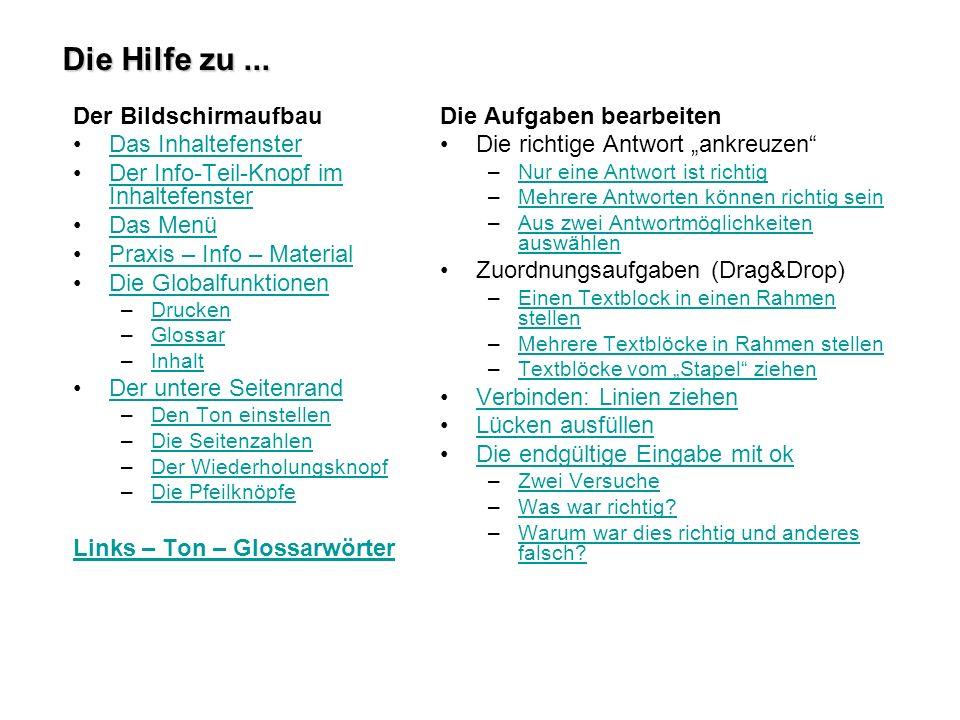 Die Hilfe zu ... Der Bildschirmaufbau Das Inhaltefenster - ppt ...