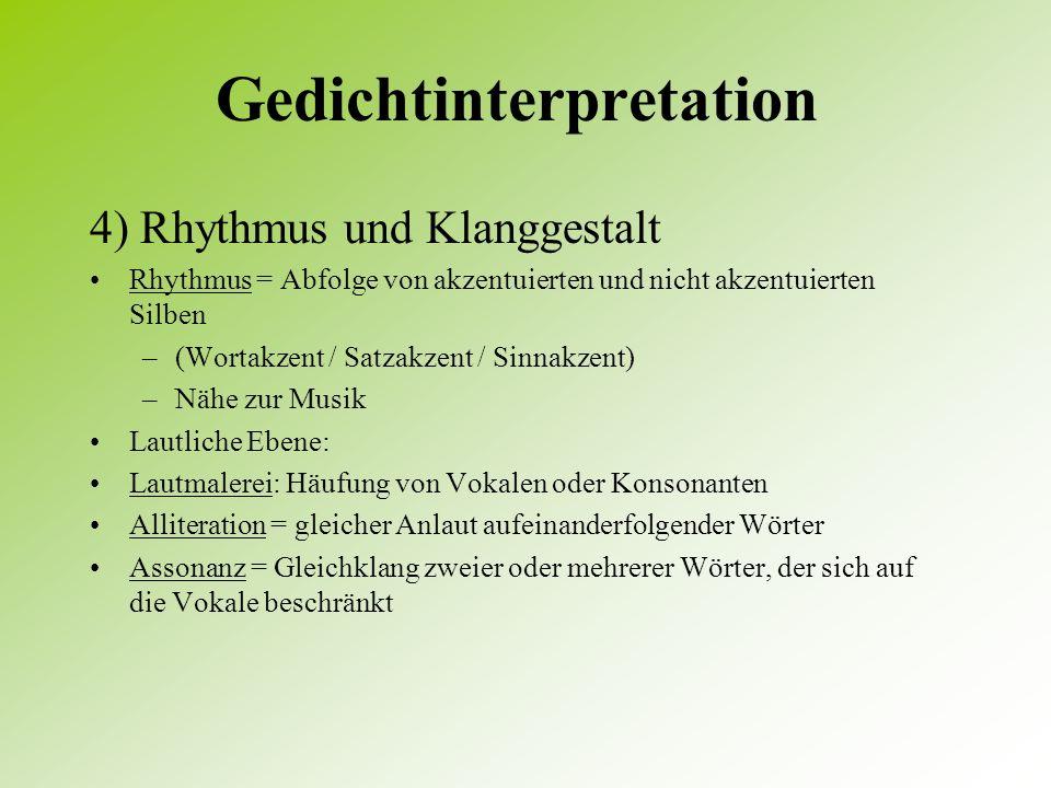 gedichtinterpretation rhythmus