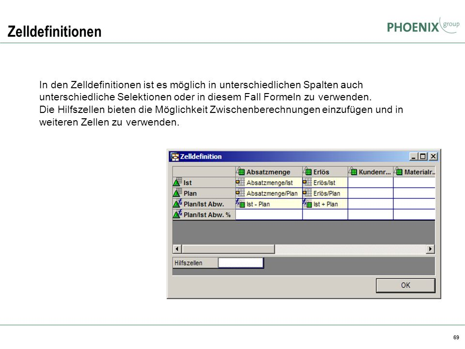 Zelldefinitionen BW Reporting.