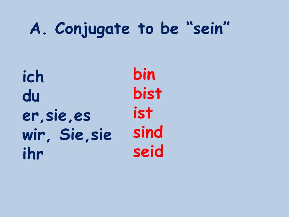 A. Conjugate to be sein