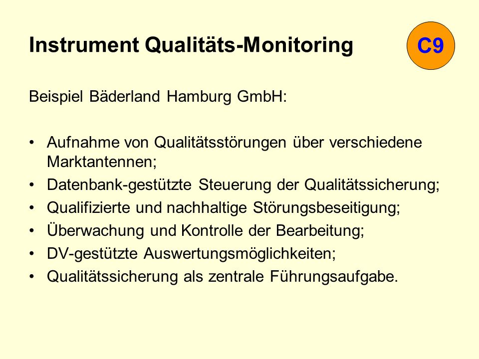 Instrument Qualitäts-Monitoring