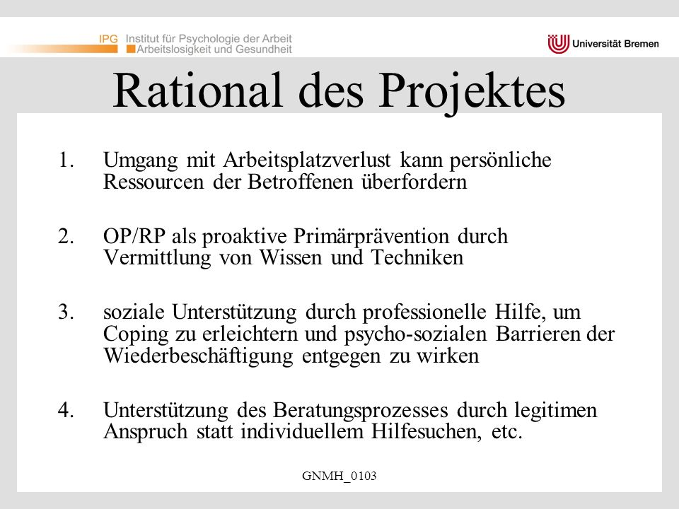 Rational des Projektes
