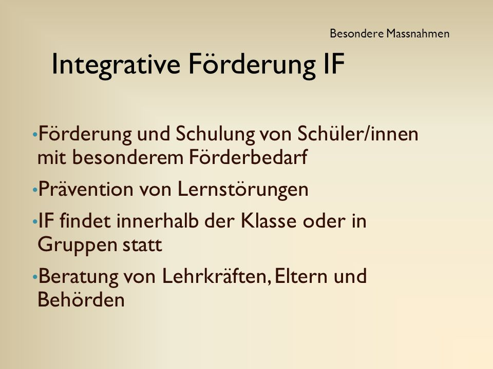 Integrative Förderung IF