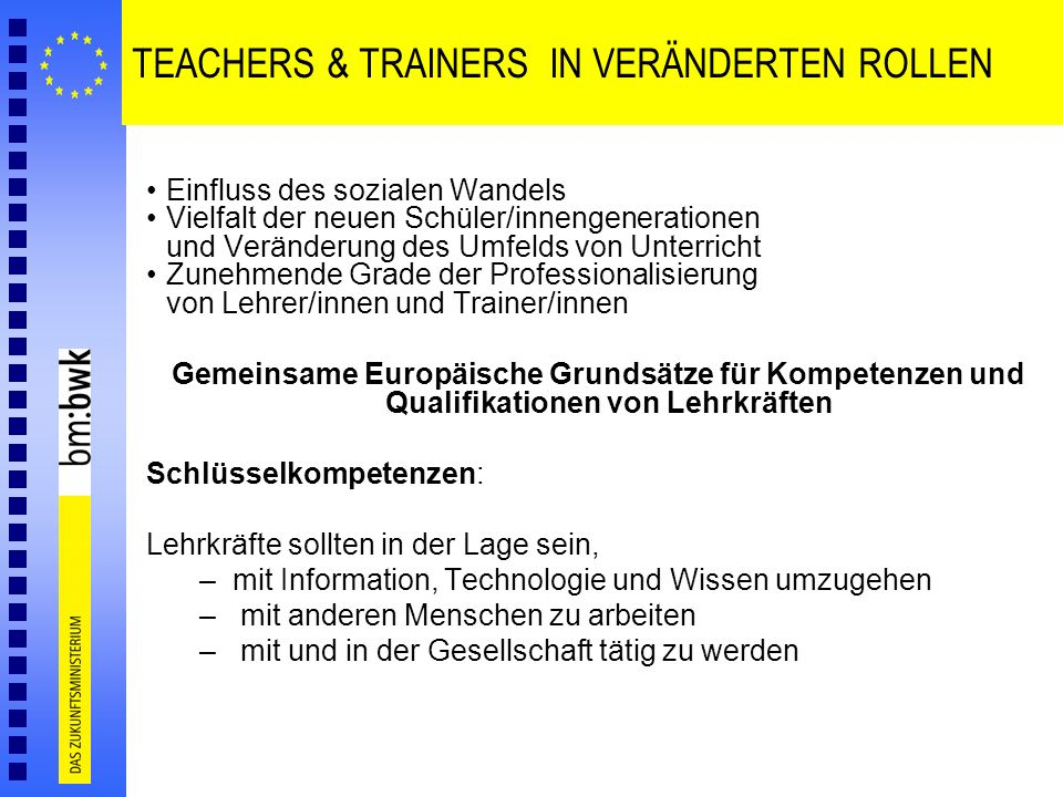 TEACHERS & TRAINERS IN VERÄNDERTEN ROLLEN