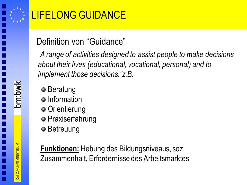 LIFELONG GUIDANCE Definition von Guidance