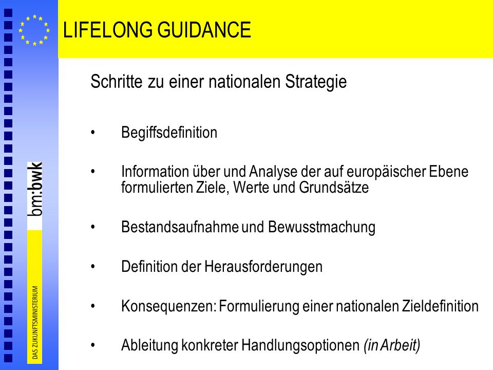 LIFELONG GUIDANCE Schritte zu einer nationalen Strategie