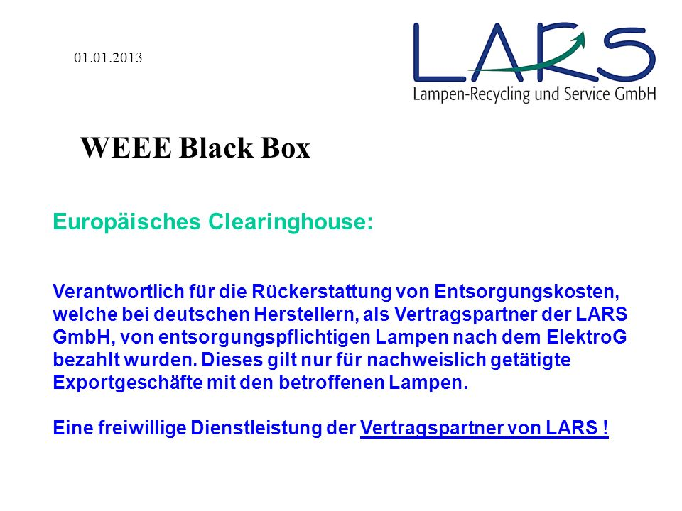 WEEE Black Box Europäisches Clearinghouse: