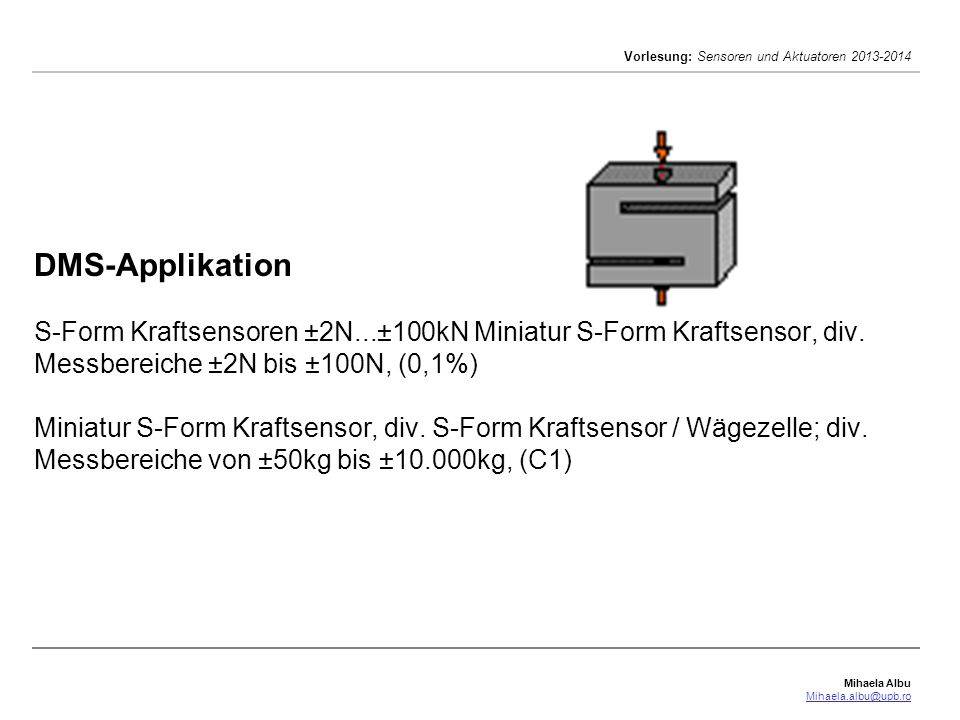 DMS-Applikation S-Form Kraftsensoren ±2N