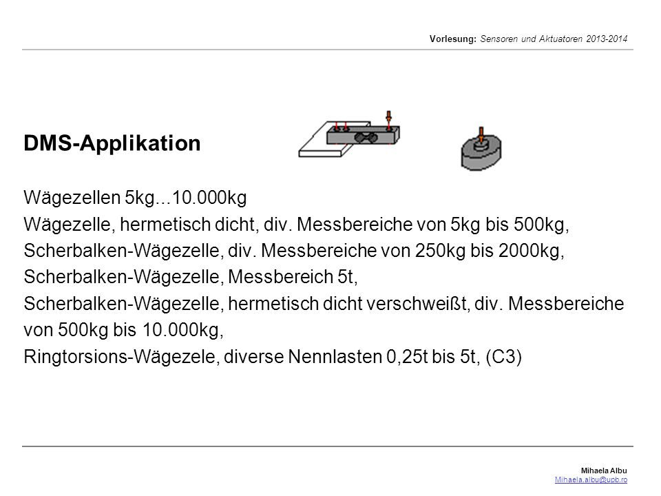 DMS-Applikation Wägezellen 5kg. 10