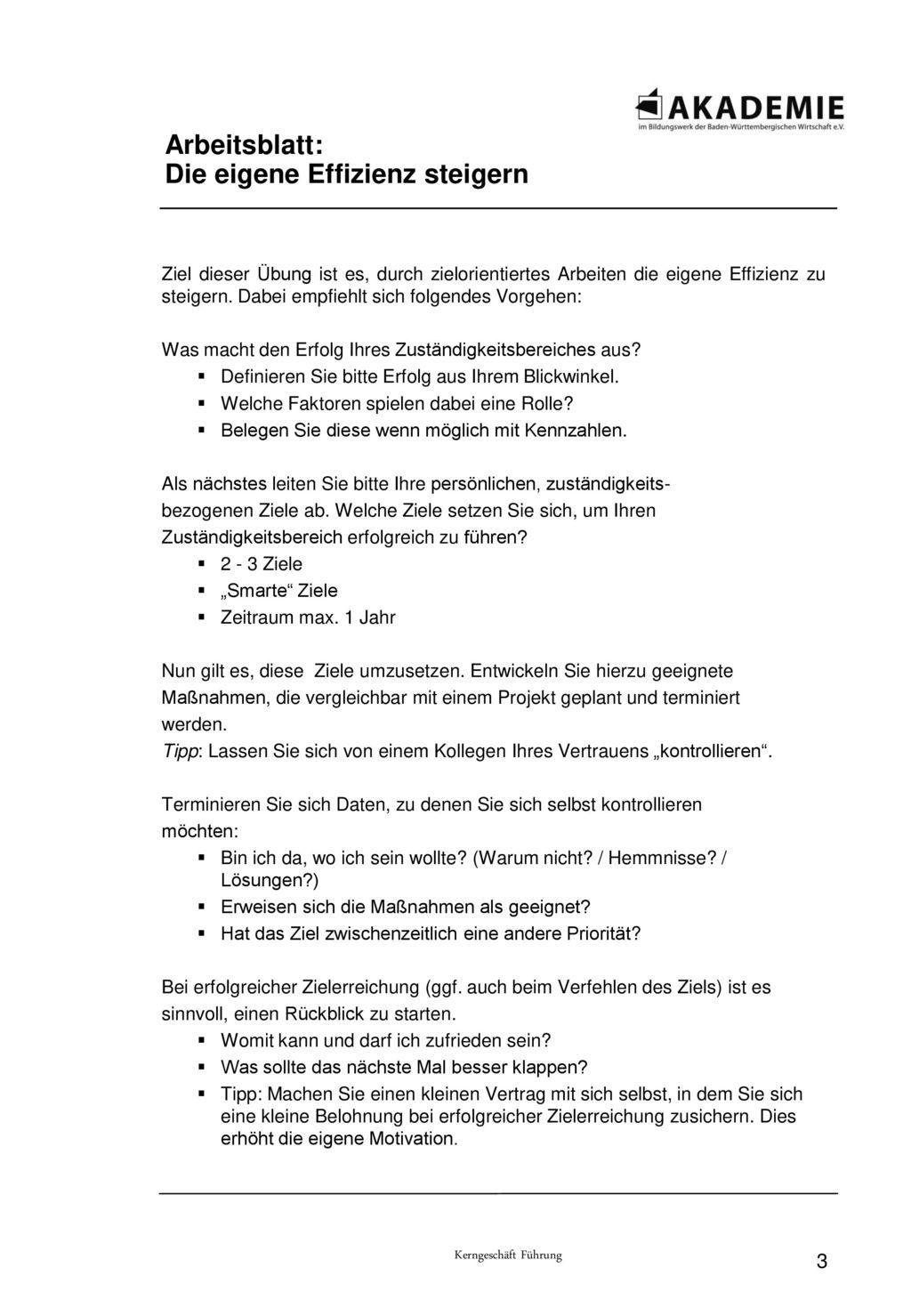 Kerngeschäft Führen – Ziele, Planung, Organisation M2 Arbeitsblätter ...