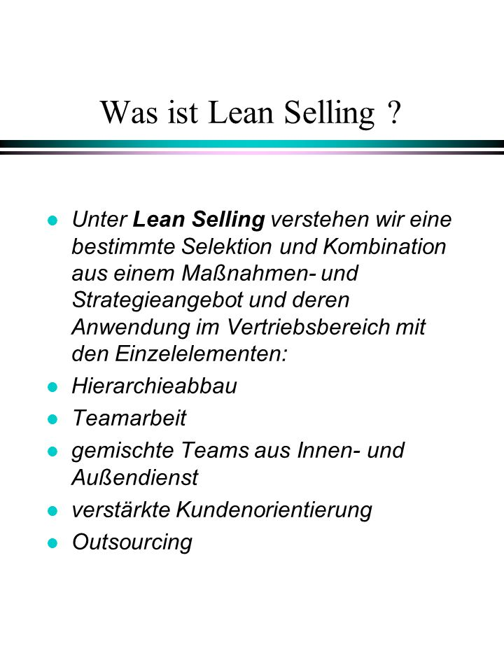 Was ist Lean Selling