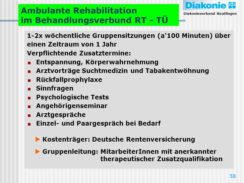 Ambulante Rehabilitation im Behandlungsverbund RT - TÜ