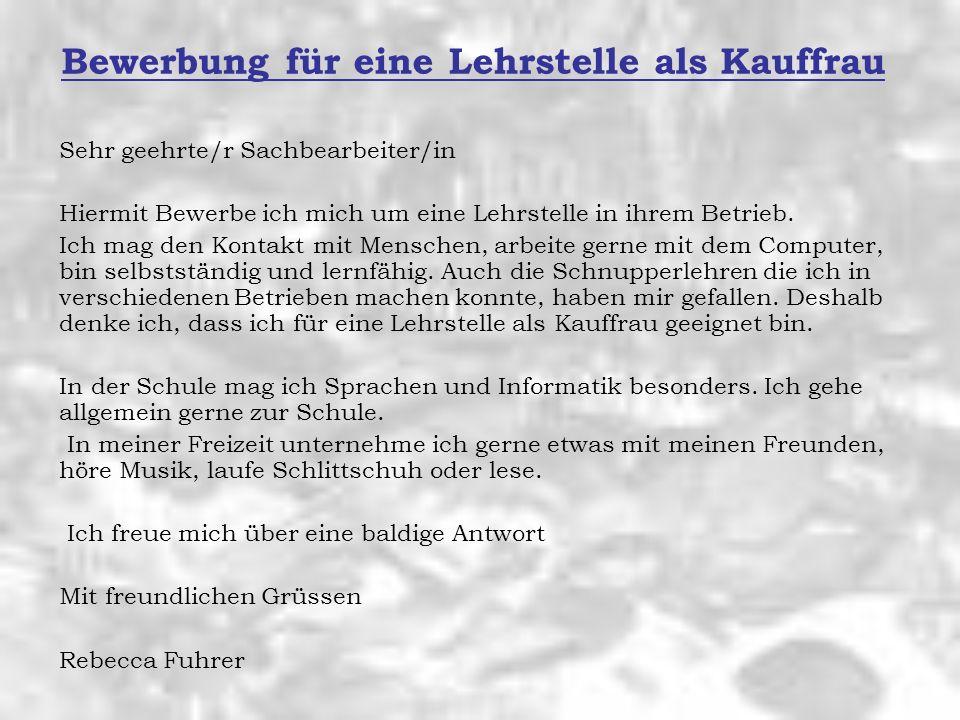 Bewerbung Von Rebecca Fuhrer Schulstr Regensdorf Ppt Video Online