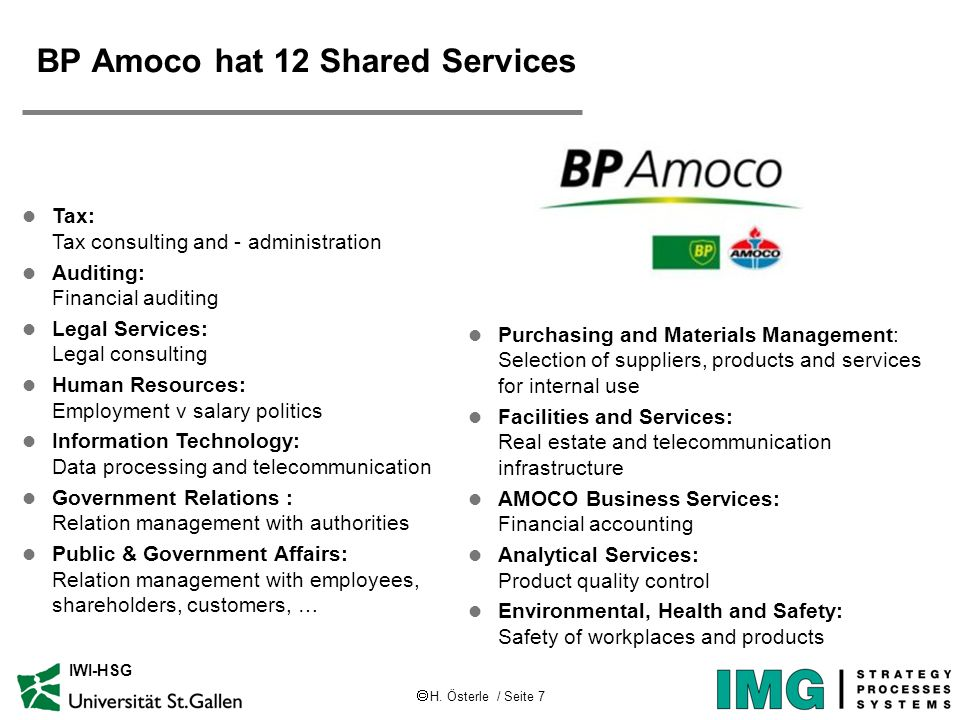 BP Amoco hat 12 Shared Services