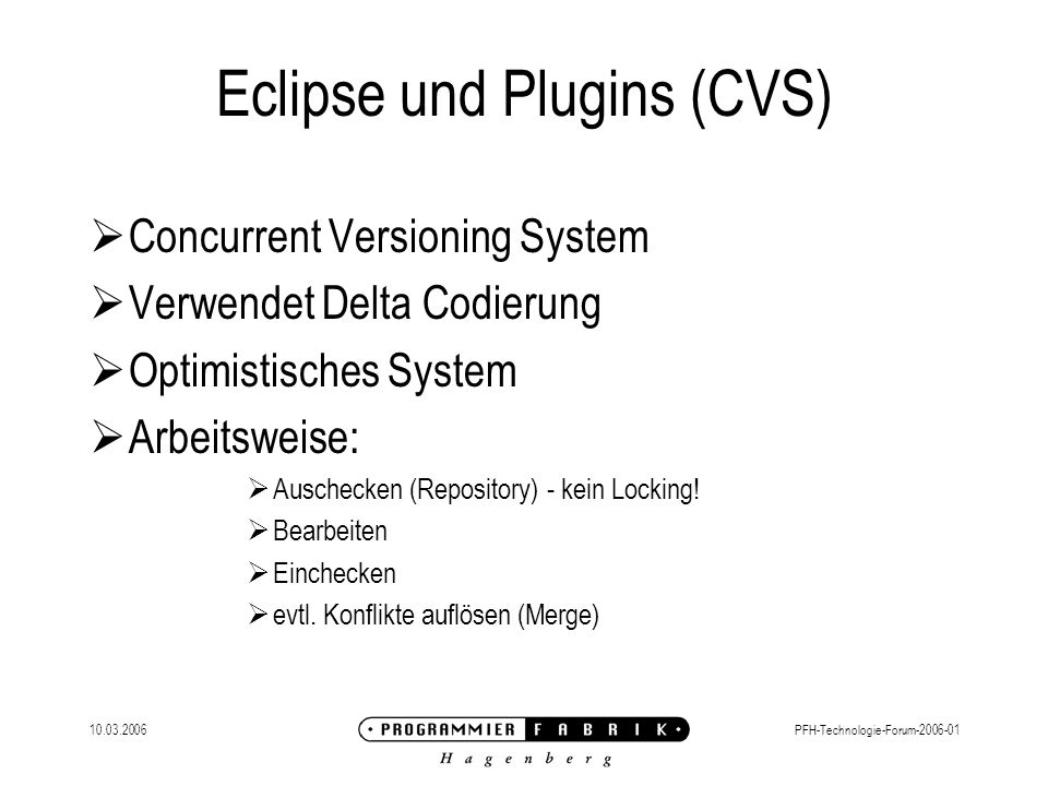 Eclipse und Plugins (CVS)
