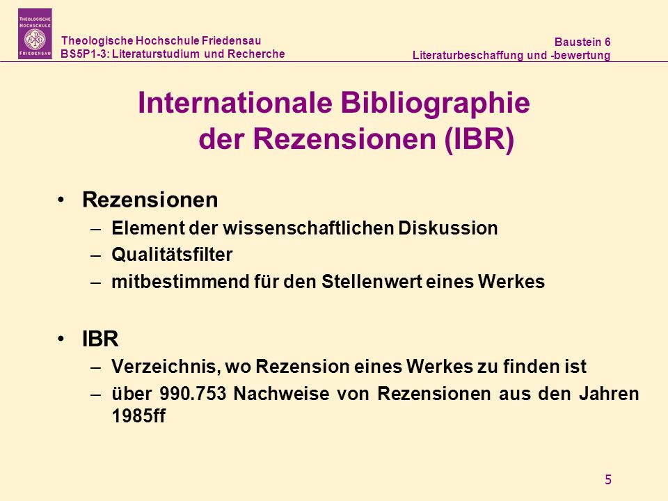 Internationale Bibliographie der Rezensionen (IBR)