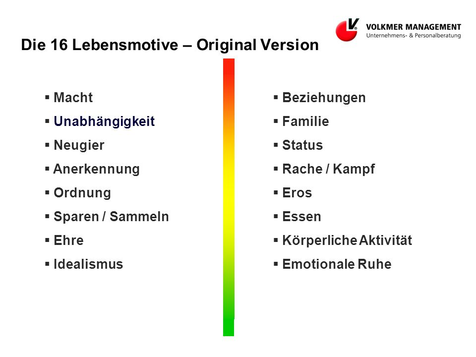 Die 16 Lebensmotive – Original Version
