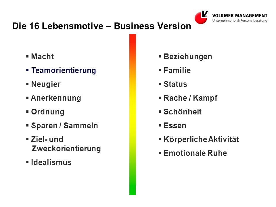 Die 16 Lebensmotive – Business Version