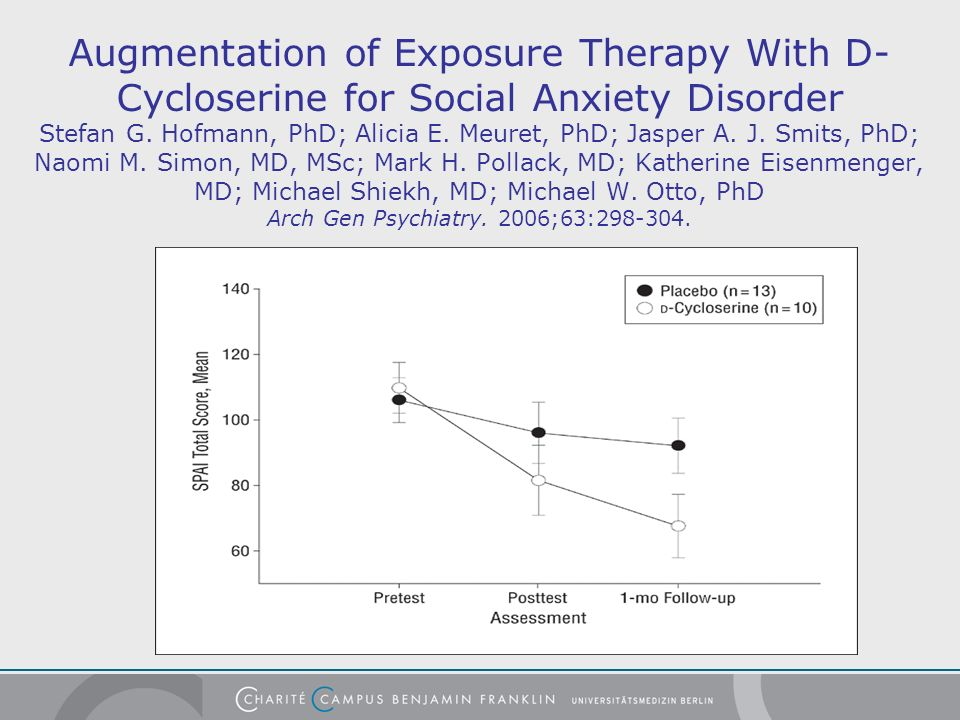 Augmentation of Exposure Therapy With D-Cycloserine for Social Anxiety Disorder Stefan G.