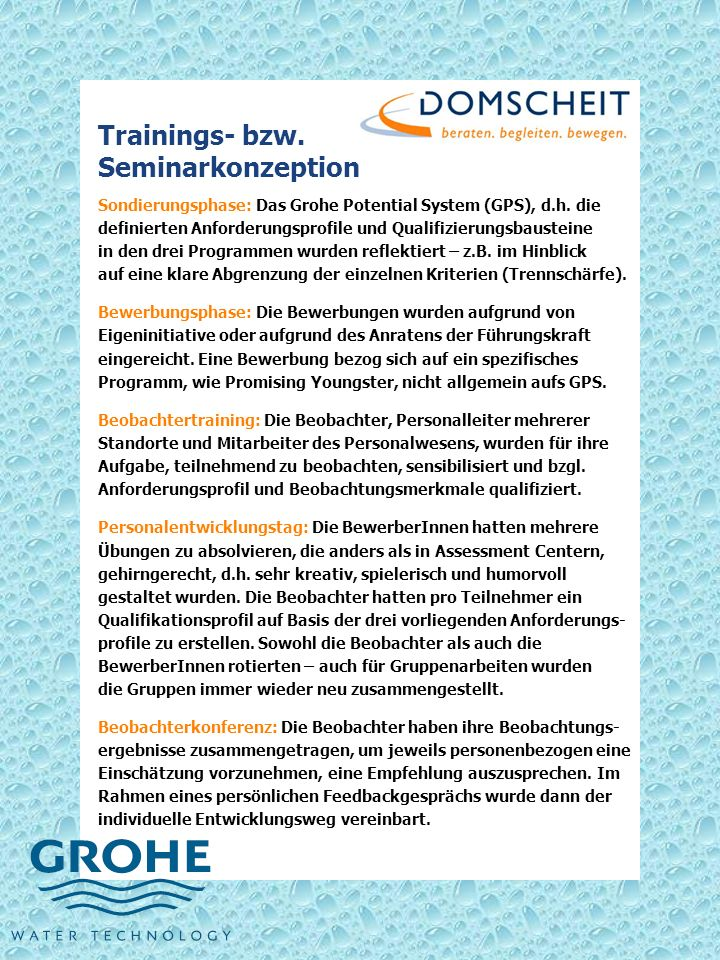 Trainings- bzw. Seminarkonzeption