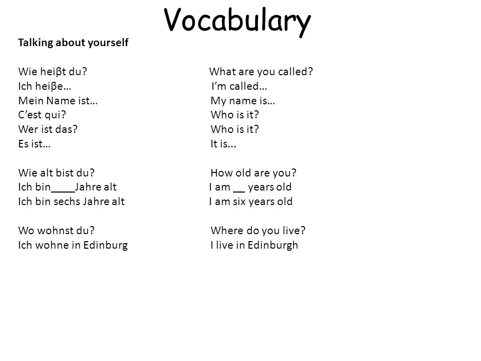 Vocabulary Talking about yourself Wie heiβt du What are you called
