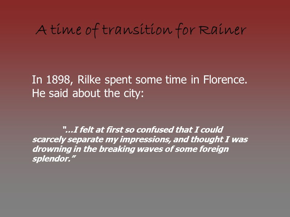 A time of transition for Rainer